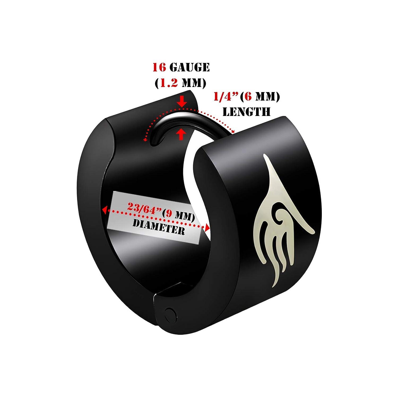 BIG GAUGES Pair of Black PVD Anodized 16g Gauge 1.2mm Huggies Ear Plugs Piercing Jewelry Earring Tribal Hoop Cartilage Lobe G2393