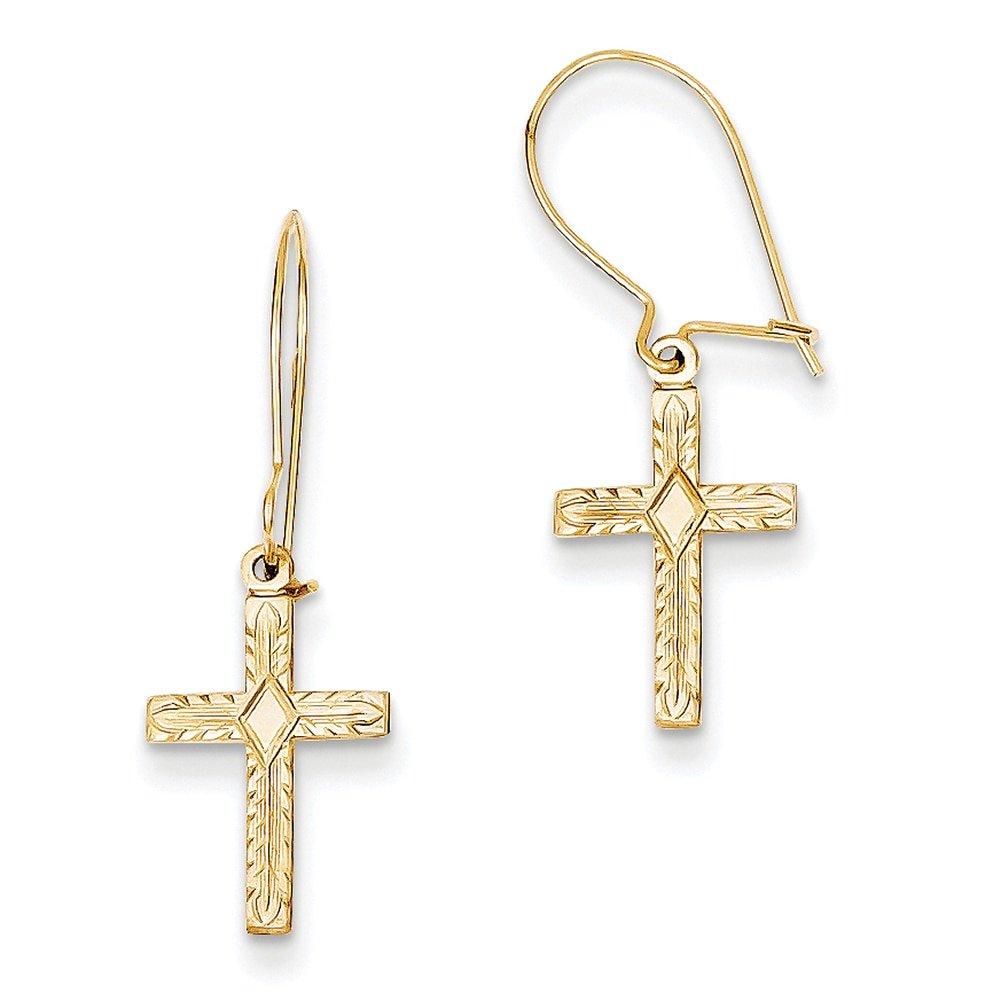 Lex /& Lu 14k Yellow Gold Polished /& Satin Cross Earrings LAL80306