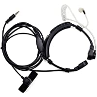 FANVERIM 3.5mm Jack Plug Cool Throat Mic Microphone Covert Acoustic Tube Earpiece Headset with Finger PTT for Mobile…