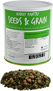 Handy Pantry Protein Powerhouse Sprouting Seed Mix: 5 Lb - Organic, Non-GMO - Sprouting Sprouts, Food Storage. High Protien Sprouts - Pea, Mung, Green Pea, Adzuki Product Name