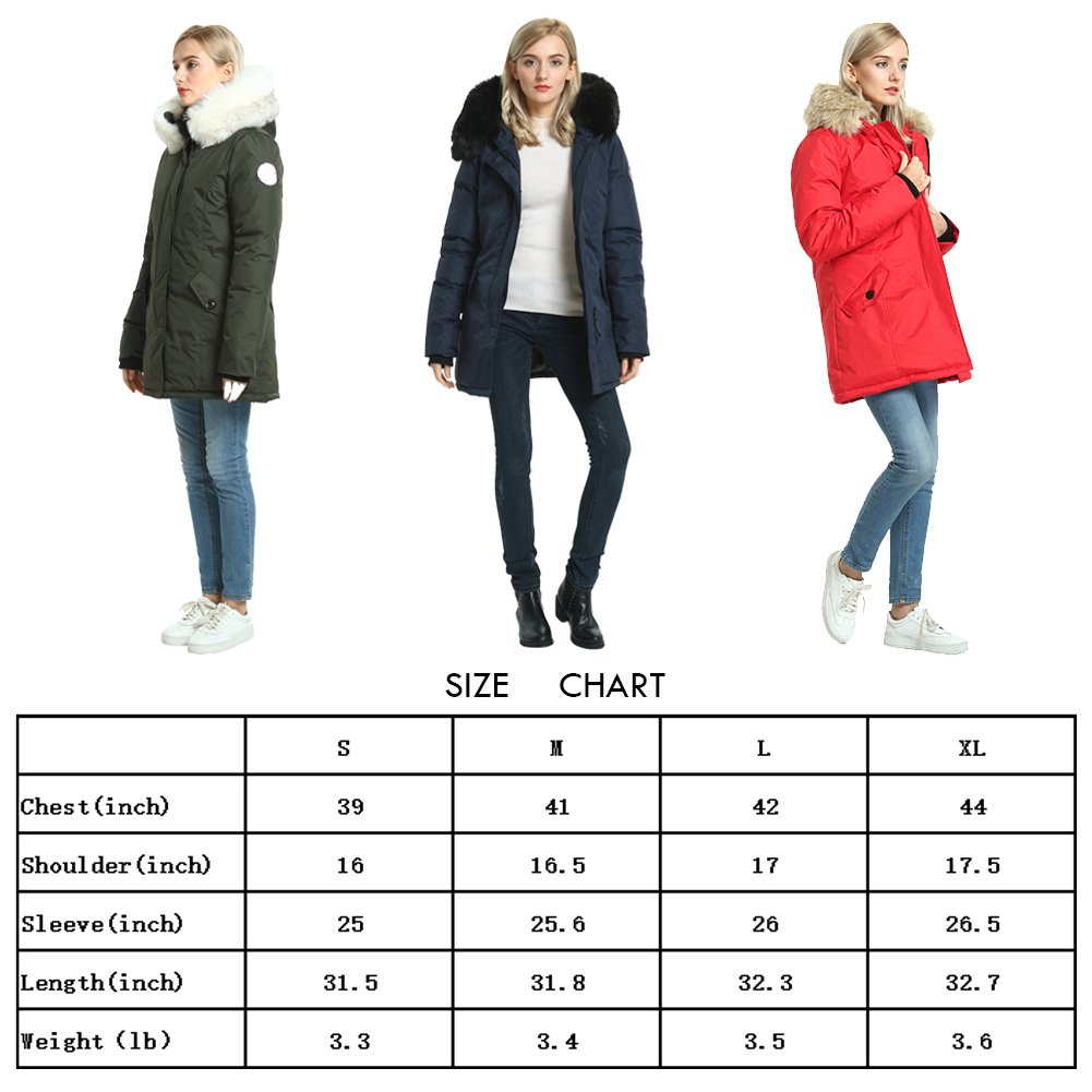 PUREMSX Women's Winter Jacket, Thick Snow Cold Weather Windproof Faux Fur Polyester Ski Anorak,Army Green by PUREMSX (Image #7)