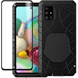 Foluu Galaxy A71 Case, Hybrid Armor Aluminum Metal Shockproof Bumper Frame Case Soft Rubber Silicone Military Heavy Duty Hard Case with Screen Protector for Samsung Galaxy A71 Black
