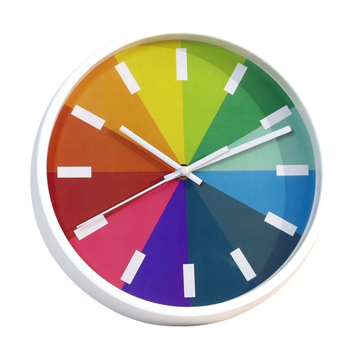 Foxtop 25 cm Orologio da Parete Silenzioso per Bambini gli Studenti, Stile Moderno, Orologio Parete Bianco