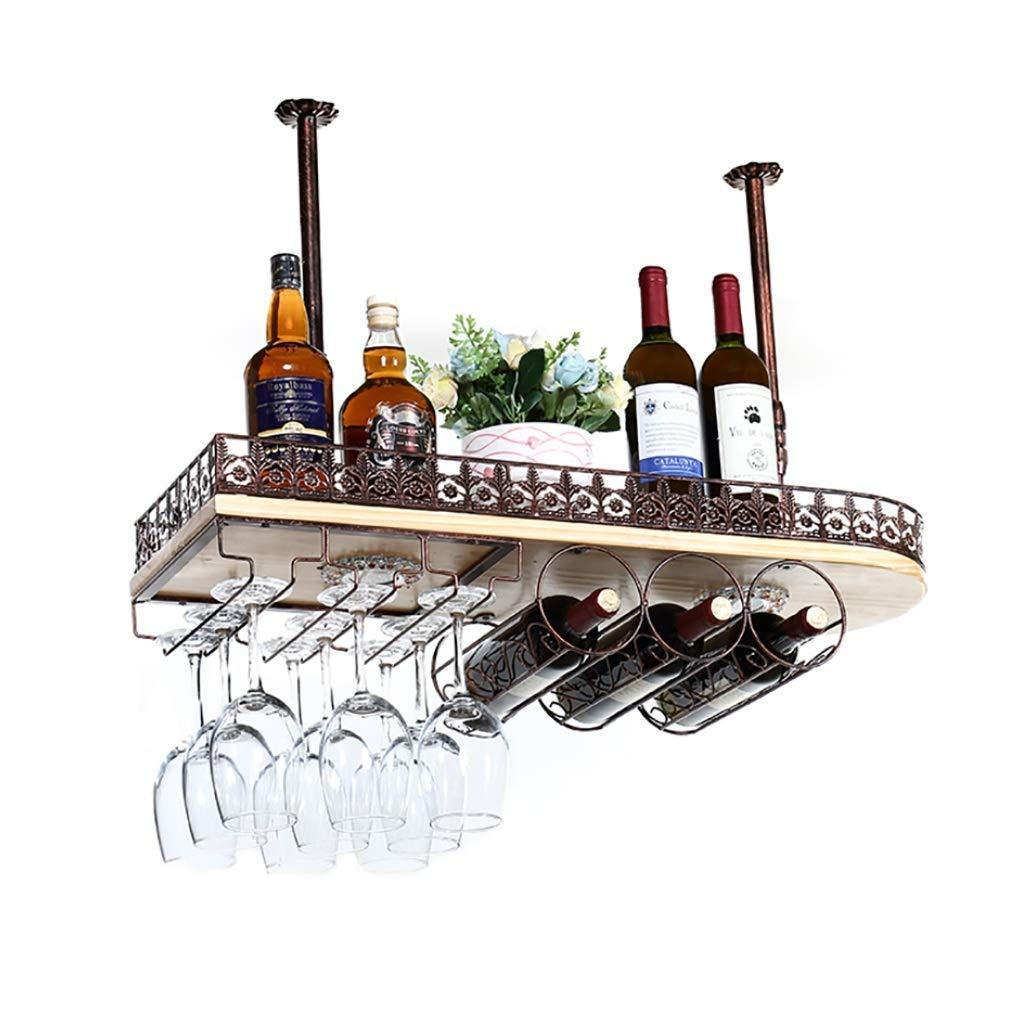 軽いワインラックが付いている純木逆さのワイングラスのホールダー天井のワインラック60 / 80cm赤ワインの貯蔵のワインラック #++ (サイズ さいず : 80x28x12cm) B07PJ723SH  80x28x12cm