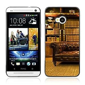 CASETOPIA / Classy Office Library / HTC One M7 / Prima Delgada SLIM Casa Carcasa Funda Case Bandera Cover Armor Shell PC / Aliminium