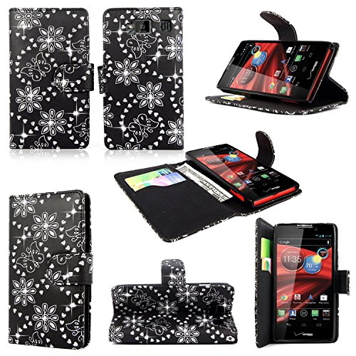 Cellularvilla Wallet Case for Motorola Droid Razr Hd Xt926 Glitter Pu Leather Wallet Card Flip Open Case Cover Pouch. (Black Glitter)