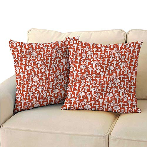 (RuppertTextile Mushroom Couple Pillowcase Leaves Berries Amanita Suitable for Hair and Skin Health W19 x L19)