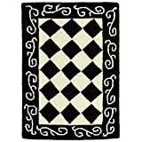 Safavieh Chelsea Collection HK711A Hand-Hooked Black and Ivory Premium Wool Area Rug (1'8