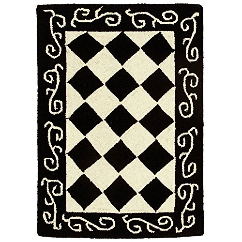Cheap Safavieh Chelsea Collection HK711A Hand-Hooked Black and Ivory Premium Wool Area Rug (1'8″ x 2'6″)