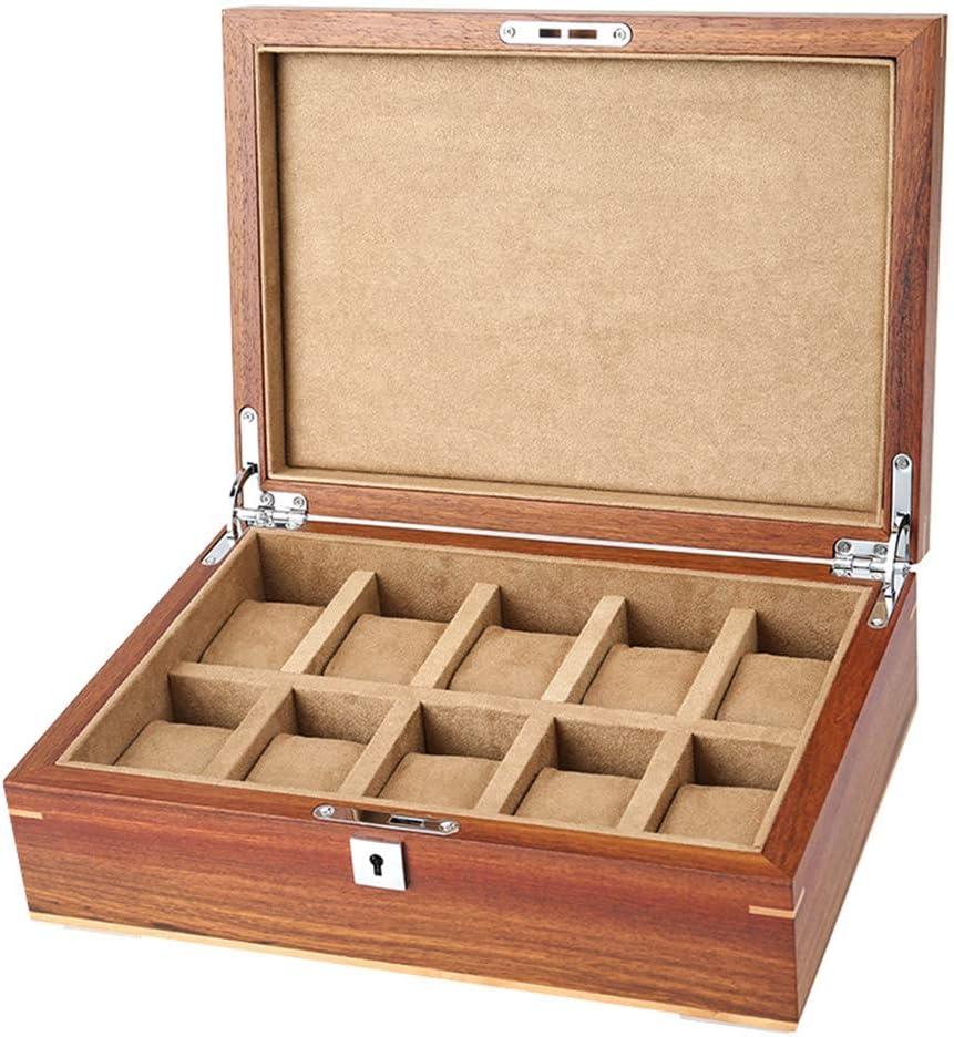 ガラス蓋付きウォッチボックス10スロットジュエリーディスプレイ収納ケース木製ブレスレットショーケースオーガナイザー男性/女性用
