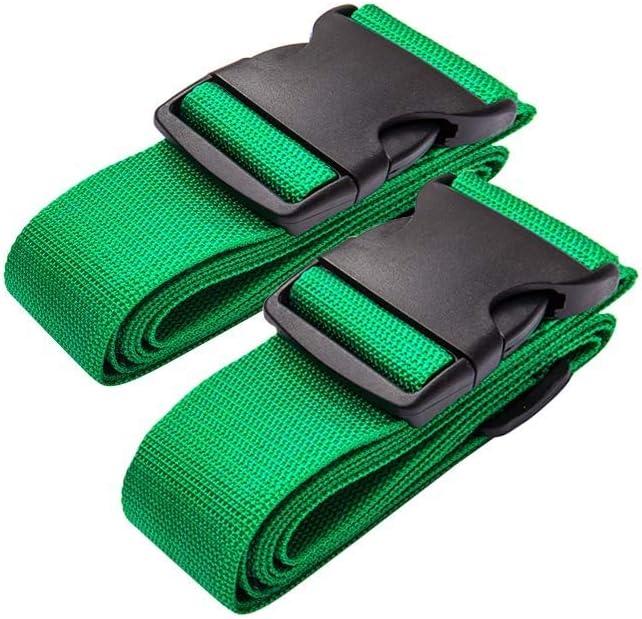 DoGeek Correa Maleta Equipaje de Correa Ajustable Seguridad Candado Correa Viaje Cinturones 2 Pcs(Verde, Naranja, Multicolor)