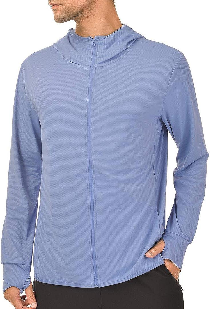 TSLA Mens UPF 50 Long Sleeve Sun Protection Hoodie Zip Front Performance UV//SPF Shirt Lightweight Running Fising Shirts