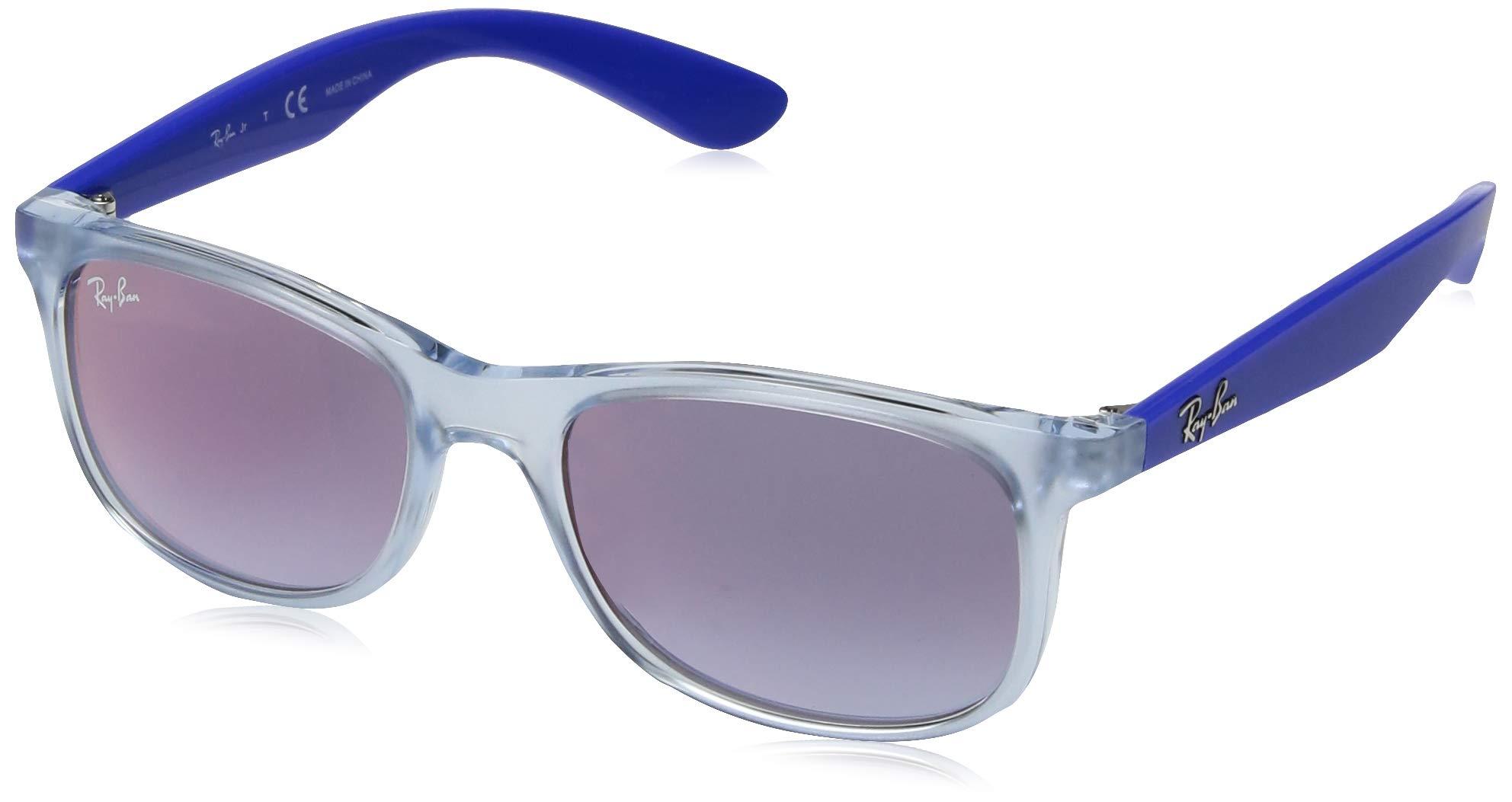 RAY-BAN JUNIOR Kids' RJ9062S Rectangular Kids Sunglasses, Transparent Light Blue/Blue Red Gradient Mirror, 48 mm by RAY-BAN JUNIOR