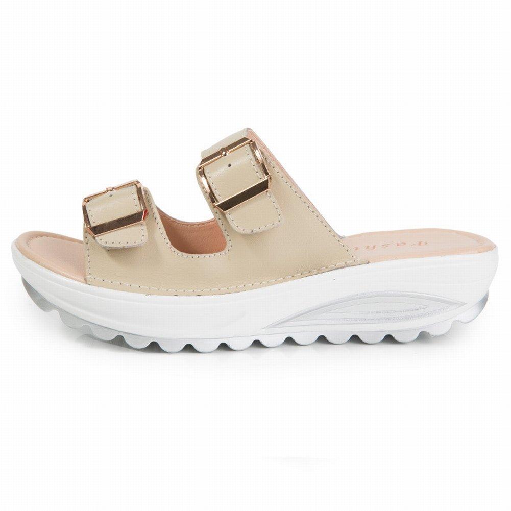 YTTY Female Sandalen Mode Sandalen Frauen Leder Hohe Frauen Sandalen  42|Polieren