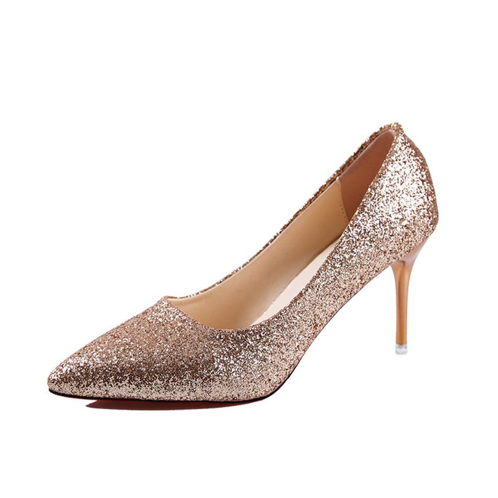 ZHANGZHIYUA Damen Damen Damen Spitzen 9CM Absatzpumps Slip-on Pailletten Pumps Hochzeits Party Pumps Schuhe 26ac4d