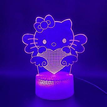 Mignon bonjour kitty 3d led bébé chambre décoration