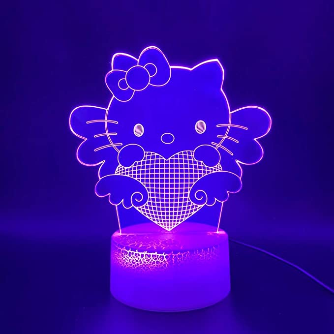 Lindo hello kitty 3d led dormitorio del bebé luminaria luz de la ...