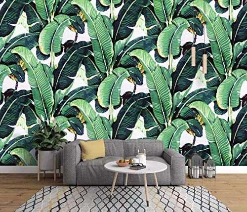 Murwall Banana Leaf Wallpaper Tropical Leaves Wall Mural Natural Pattern Wall Art Exotic Home Decor Cafe Design Living Room Bedroom Entryway