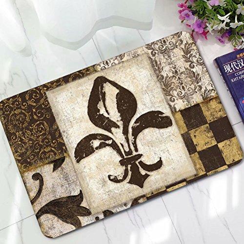 ALDECOR Regal Fleur De Lis Front Door Strong Non Slip Entrance Rug, Floor Door Mat Absorbent Shoes Scraper Carpet