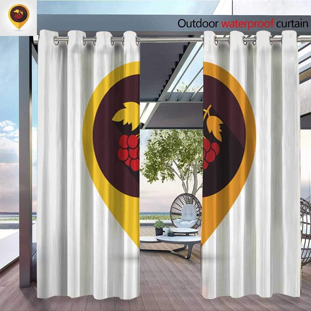 QianHe - Cortina de privacidad para exteriores para pérgola redonda de arce, marco de hojas, corona de otoño, marco con hojas coloridas, jpg con aislamiento térmico, cortina repelente al agua para balcón: