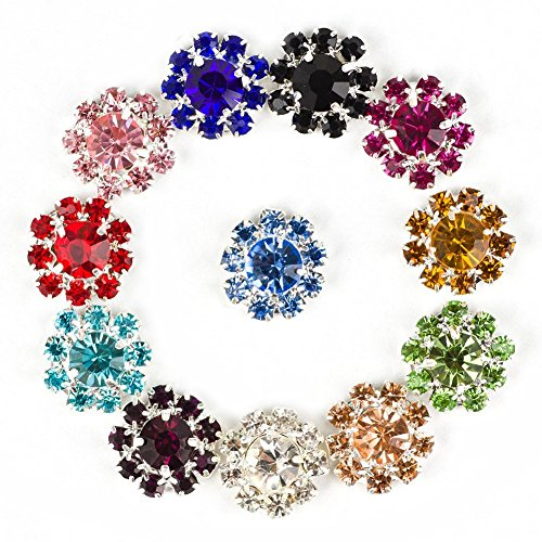 Flower Parts (HI-BOOM 50pcs 12mm Rhinestone Flatback Button for Decoration / Hair Flower / Jewelry Parts, Mixed Color)