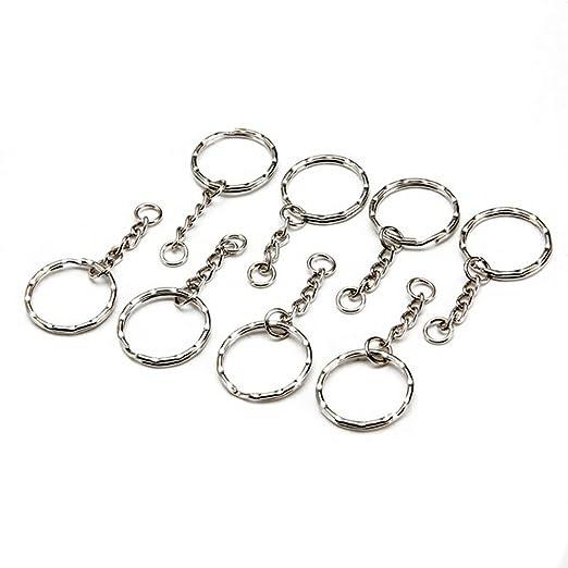 50 llaveros de plata con cadena de eslabones para ...