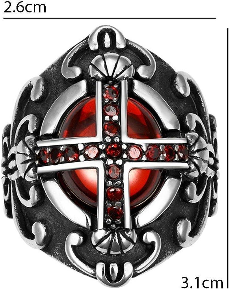 BOBIJOO Jewelry Grosse Chevali/ère Bague Croix Templier Royaliste Faux Rubis Rouge Gothique Pape
