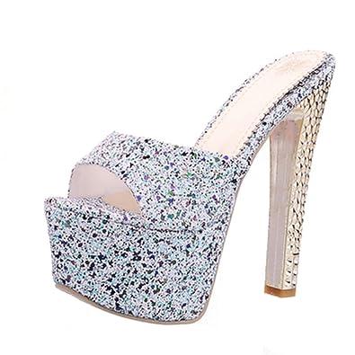 ba65b9c3eaaec AIYOUMEI Damen Glitzer Pantoletten Plateau High Heels Mules mit Blockabsatz  Sandalen mit Quasten Schuhe Sommer  Amazon.de  Schuhe   Handtaschen