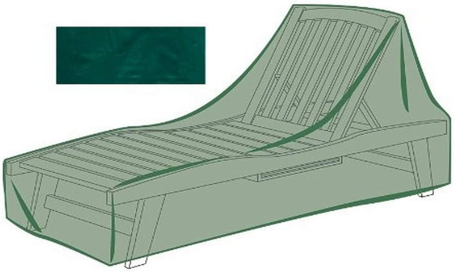 Plow & Hearth 63712GR Long Chaise Cover, Green