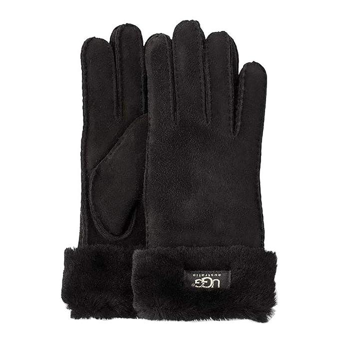 285874da111 UGG Women's Turn Cuff Water Resistant Sheepskin Gloves Black MD at ...