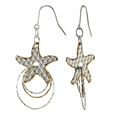 eb7f45af3 Amazon.com: Sterling Silver Two Tone Diamond-Cut Starfish and Multi Hoops  Dangle Intertwined Circle Earrings: Jewelry