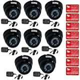 VideoSecu 8 Pack 480TVL CCD 3.6mm Lens Security Cameras Infrared Day Night Vision CCTV Dome Outdoor Wide Angle Vandal Proof with 8 Free Power Supplies and Security Warning Decals CCN