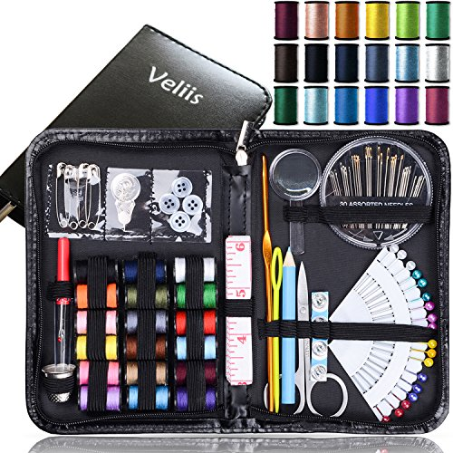 Sewing Kit Bundle with Scissors, Pearl Needle, Thread, Needles, Tape Measure, Carrying Case and Accessories for Domestic/Travel (Black)