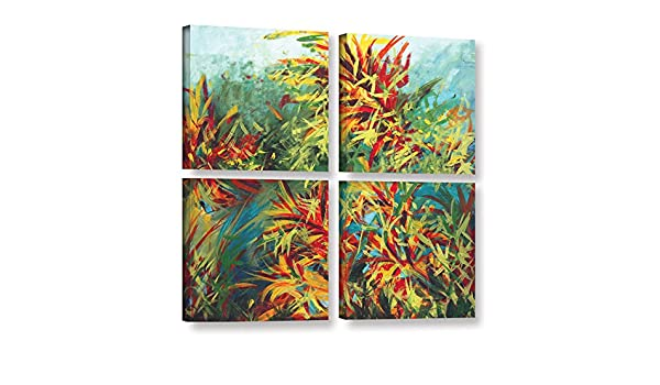 ArtWall Jan Weisss Floral Garden 2 4 Piece Gallery Wrapped Canvas Square Set 48X48