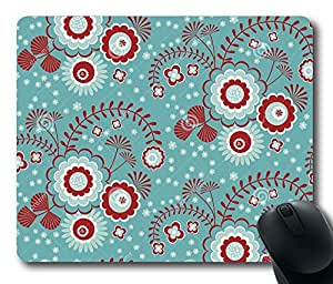 """Green Floral Pattern Rectangle Oblong Mouse Pad Design Mousepad in 220mm*180mm*3mm (9""""*7"""") -81906 by ruishername"""