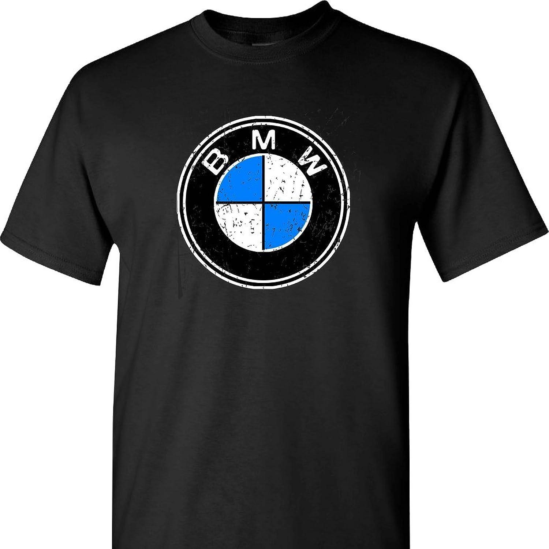 BMW Distressed Logo on a Black T Shirt