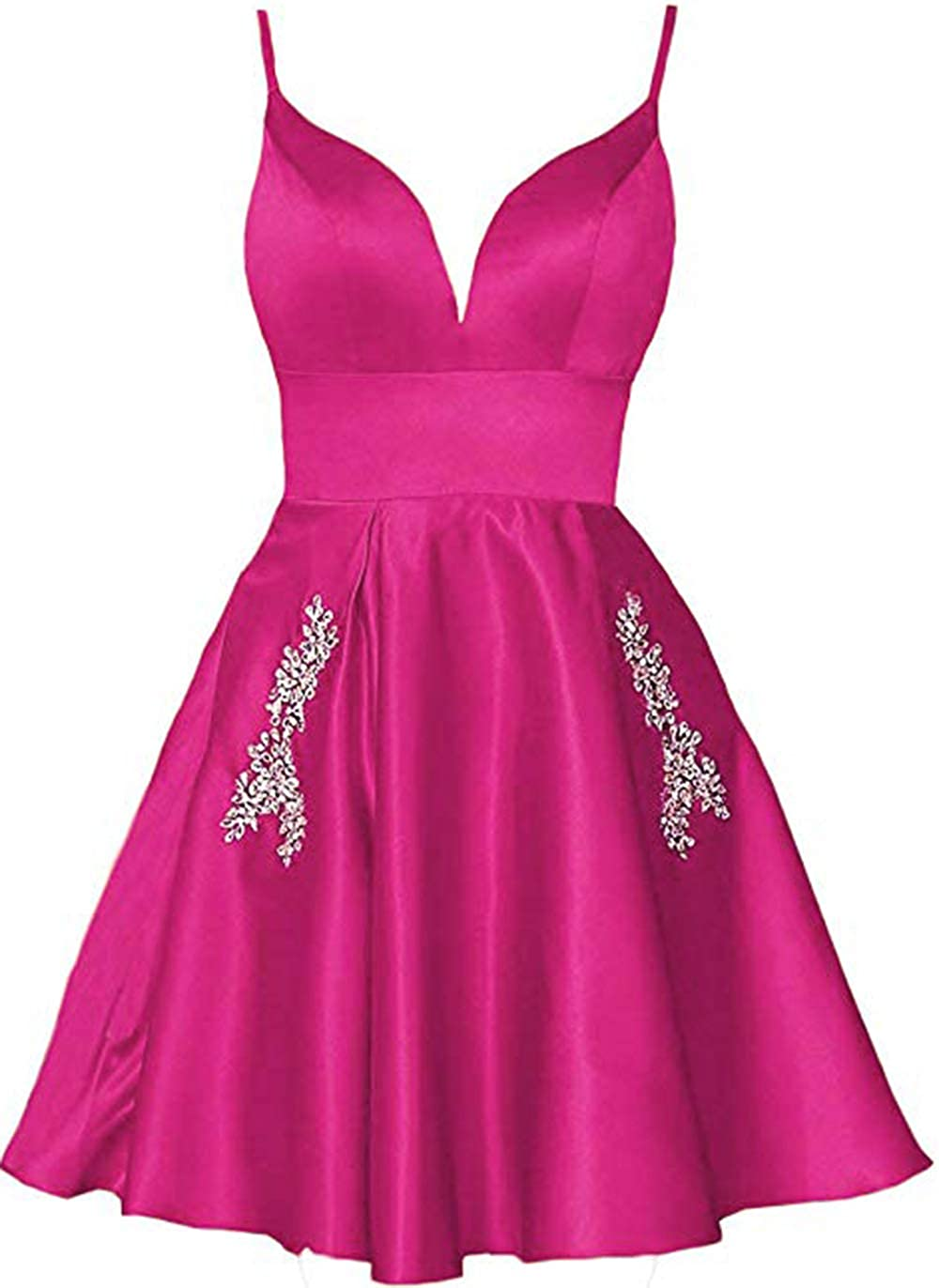 Hot Pink Ri Yun Womens Spaghetti Straps Prom Dresses Short 2019 Satin Beaded A Line Homecoming Dress with Pockets
