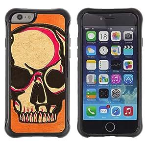 Suave TPU Caso Carcasa de Caucho Funda para Apple Iphone 6 PLUS 5.5 / Skull Pink Orange Death Art Biker / STRONG