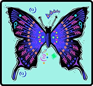 Southwestern Blue & Black Butterfly - Etched Vinyl Stained Glass Film, Static Cling Window Decal