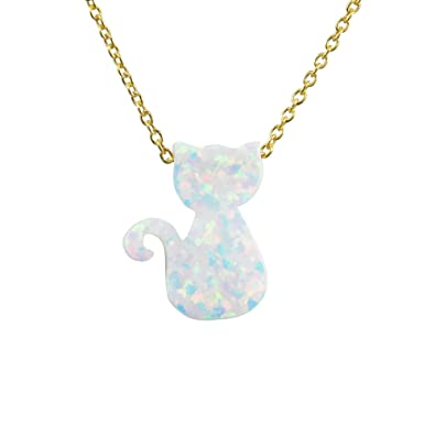 baefa165867 Martinuzzi Accessories Cat Necklace White Lab-Created Opal Pendant Sterling  Silver Chain Charm for Women