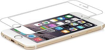 """StilGut Protection d'écran en verre trempé pour iPhone 6s (4.7""""). Protection écran iPhone 6s en verre ultra-resistante et transparente (lot de 2), avec bordure blanche"""