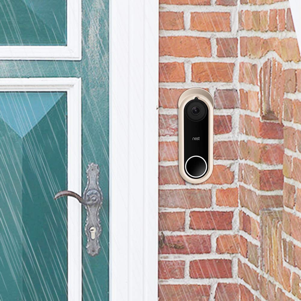 White UV Light and Weather Resistant Night Vision Compatible Protective Skin Case Fintie Silicone Cover for Nest Hello Video Doorbell