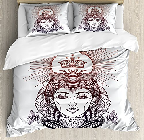 Queen Bee Duvet Cover Set King Size by Ambesonne, Hand Drawn Fantastical Woman Silhouette with Crown Motif Royal Occult Elements, Decorative 3 Piece Bedding Set with 2 Pillow Shams, Sephia - Woman Hand Silhouette