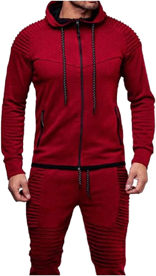 YUNY Mens Drawstring Sports Slim Hooded Pure Color Hoodies Sweatshirt Red M