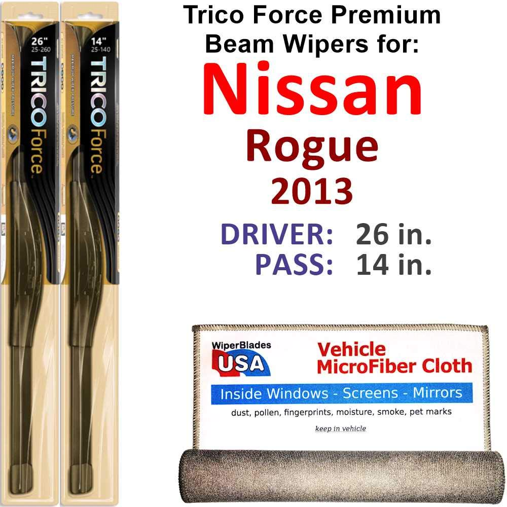 Wiper Blades for 2013 Nissan Rogue Driver & Passenger Trico Steel Wipers Set of 2 Bundled with Bonus MicroFiber Interior Car Cloth