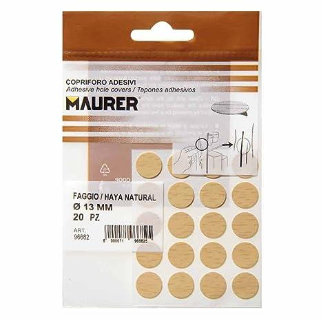 Maurer 5440110 Pack de 20 tapatornillos Adhesivos, Color Haya Natural