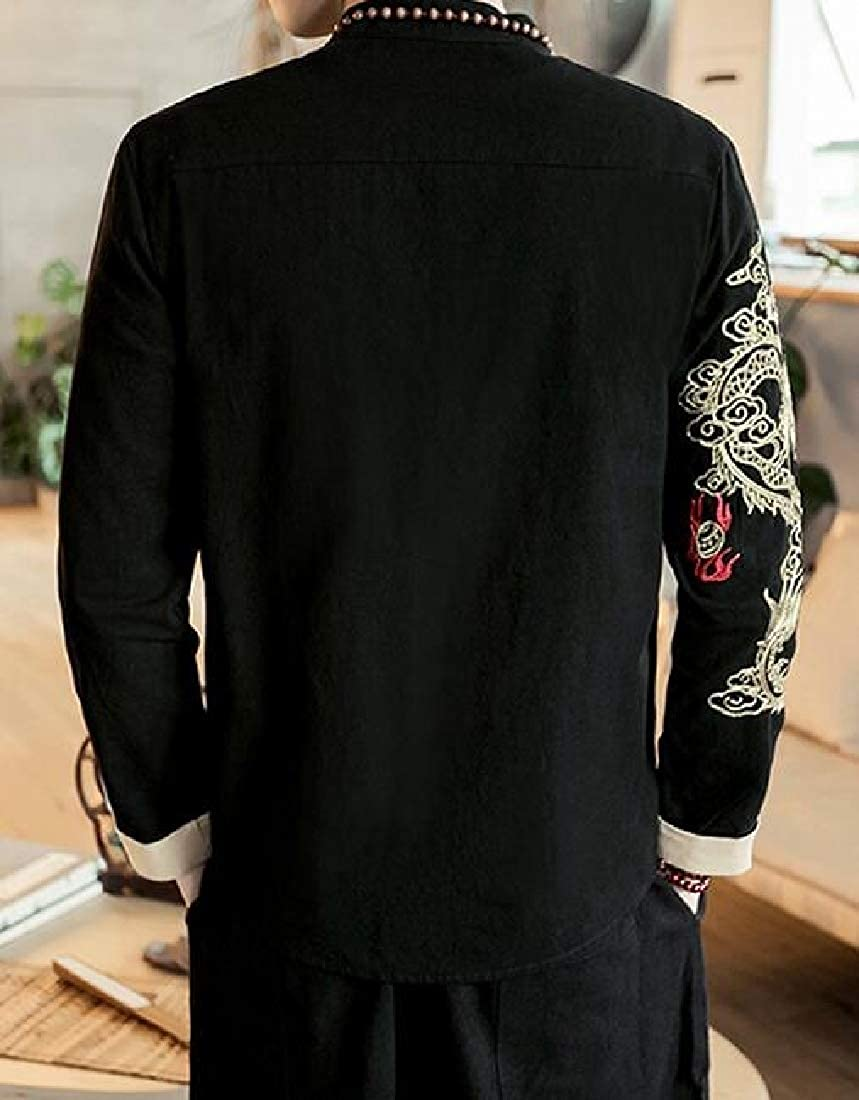 YYear Mens Plus Size Embroidery Chinese Style Casual Button Down Dress Work Shirt