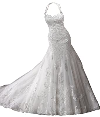 Hblld Womens Lace Halter Wedding Dress Bridal Gowns At