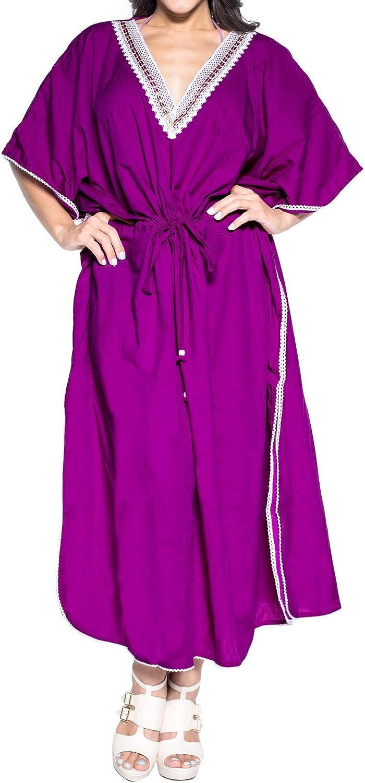 LA LEELA Womens Loose Caftan Swimsuit Cover Up Beach Casual Dress Solid Plain
