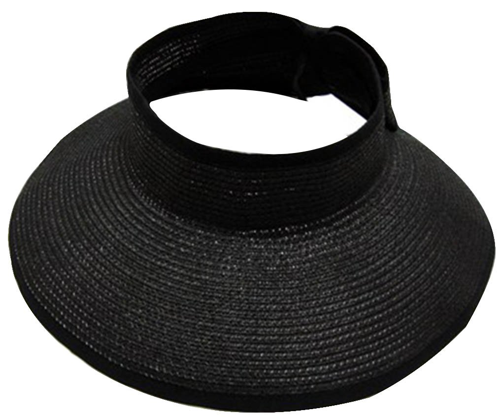 Simplicity Women s Roll up Striped Ribbed Wide Brim Straw Sun Visor - Black  - One Size  Amazon.co.uk  Clothing 607454cf7f6